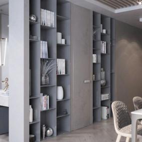 Встроенный стеллаж для книг и декораций