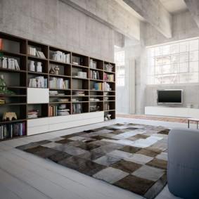 Книжная стенка в гостиной комнате