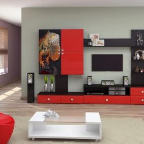 Красные фасады мебели в гостиной