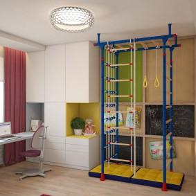 Дизайн комнаты мальчика со спортивным уголком