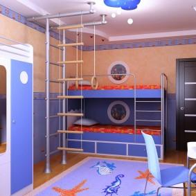 Спортивный уголок в спальне двоих детей
