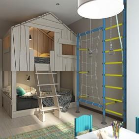 Кровать-чердак в комнате мальчиков