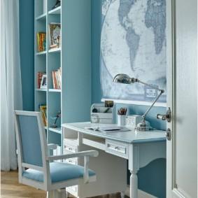 Голубая мебель в интерьере комнаты для мальчика