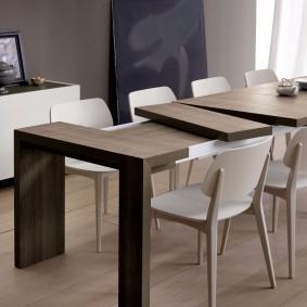 Раздвижной кухонный стол в стиле хай-тек