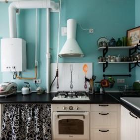 Интерьер кухни без навесных шкафчиков