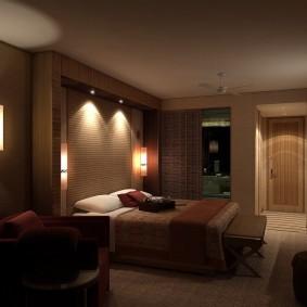 Романтическое освещение в спальной комнате