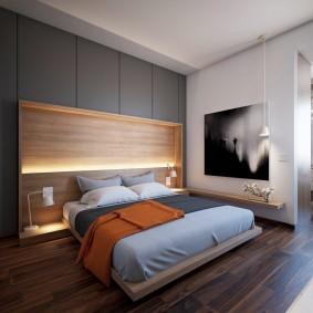 Белая подсветка изголовья кровати