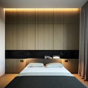 Встроенная мебель в спальне стиля минимализм