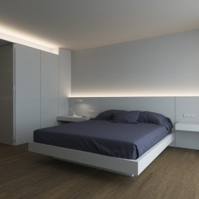 Неоновая подсветка спальне в стиле минимализм