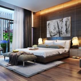 Ламинированный пол в спальне современного стиля