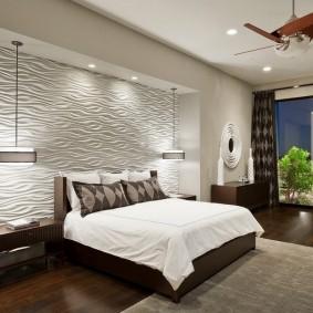 3d-панели на акцентной стене спальни