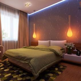 Каплевидные светильники над кроватью в спальне