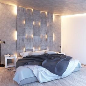 Деревянный пол в спальне без шкафов