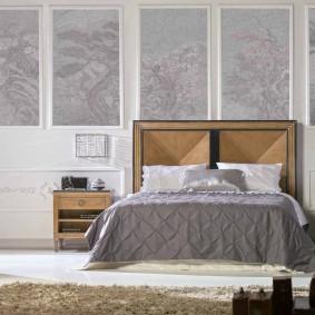 Деревянная мебель в современной спальне