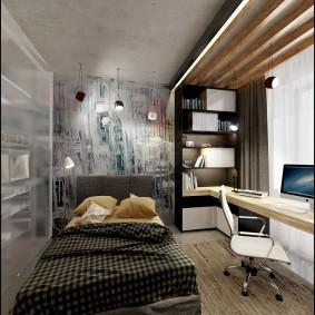 Декор деревом потолка в спальне