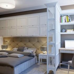 Встроенные шкафы в спальне с кабинетом