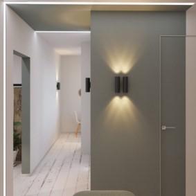 Серая стена в прихожей стиля минимализма