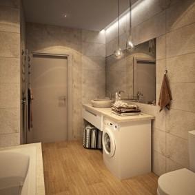Прямоугольная плитка на стене ванной комнаты