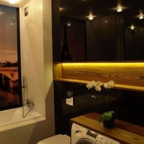 Декоративная подсветка в нише ванной
