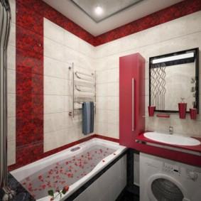 Красный пенал на стене ванной