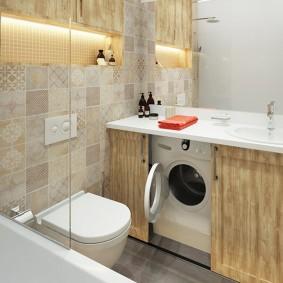 Скрытое размещение стиральной машины в ванной