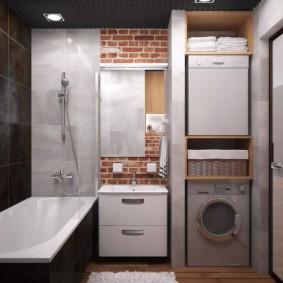 Небольшая ванная комната в стиле лофт