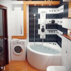 Яркая напольная плитка в ванной комнате