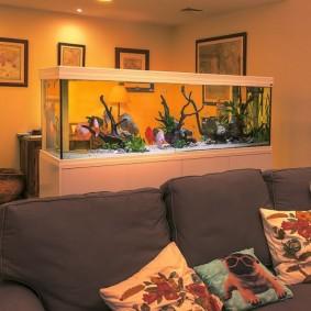 Интерьер комнаты с аквариумом в перегородке