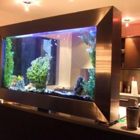 Прозрачный аквариум на барной стойке