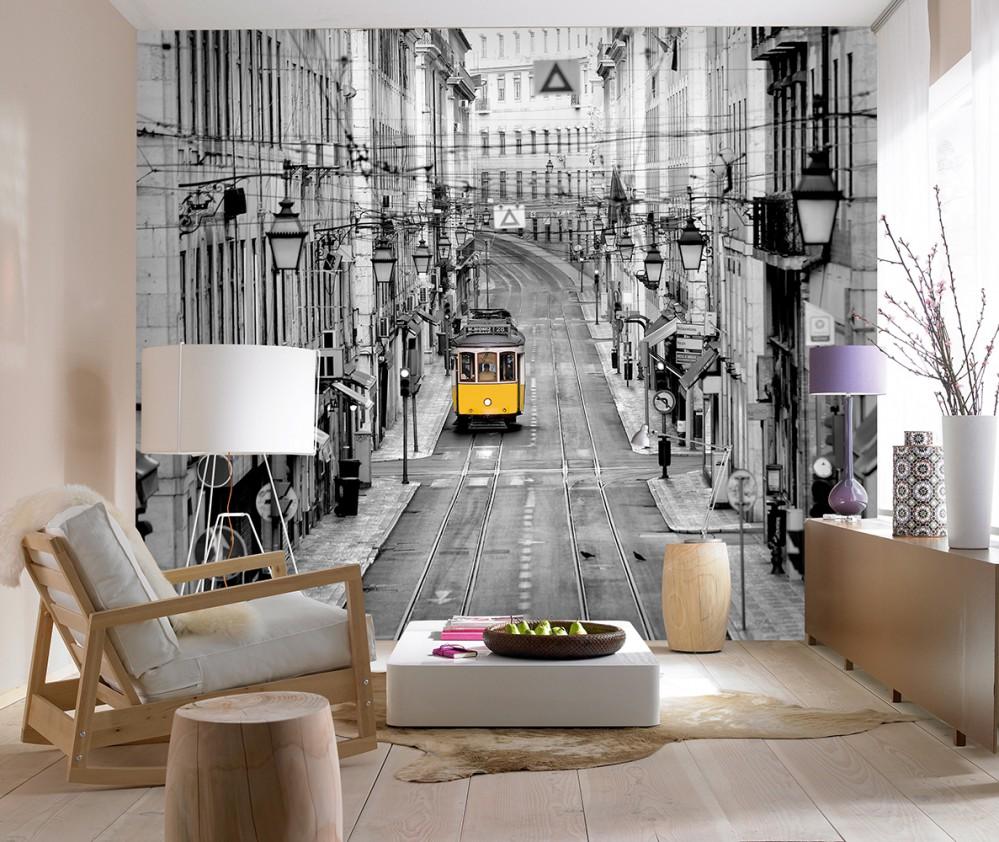 3d-обои с фотопечатью города на стене гостиной