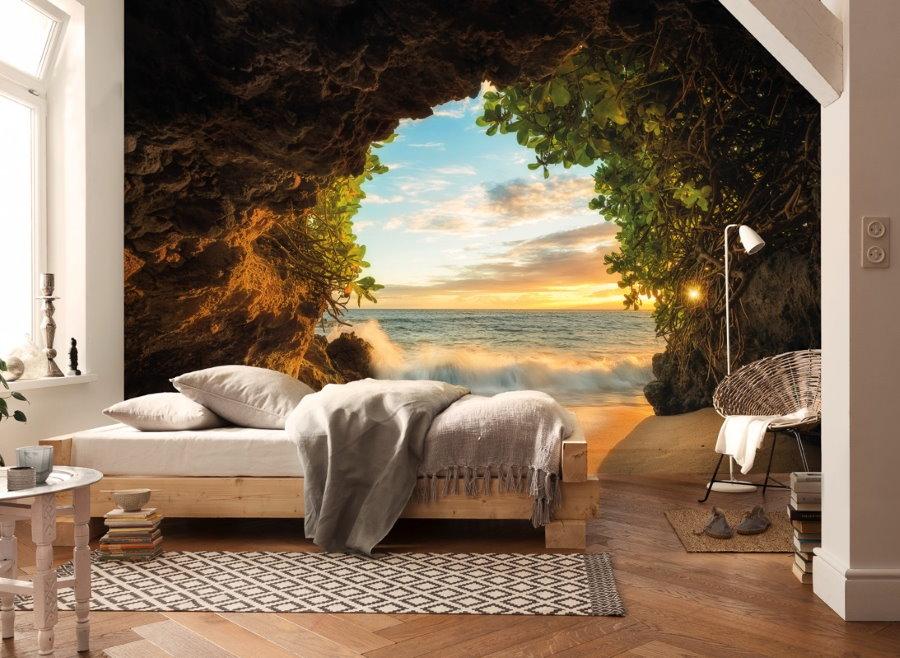 Фотообои с перспективой на стене спальни