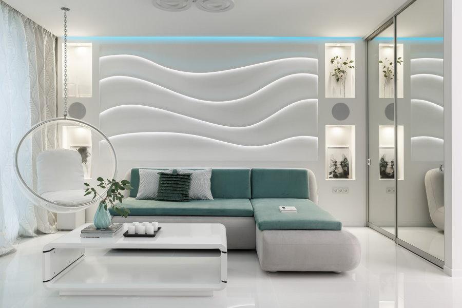 Голубая подсветка на потолке гостиной в стиле хай-тек