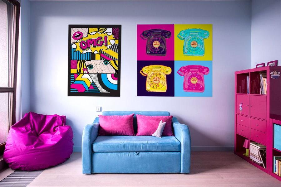 Раскладной диван в детской стиля поп арт