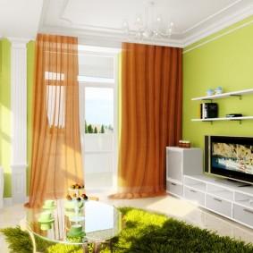 Коричневые шторы в маленькой гостиной