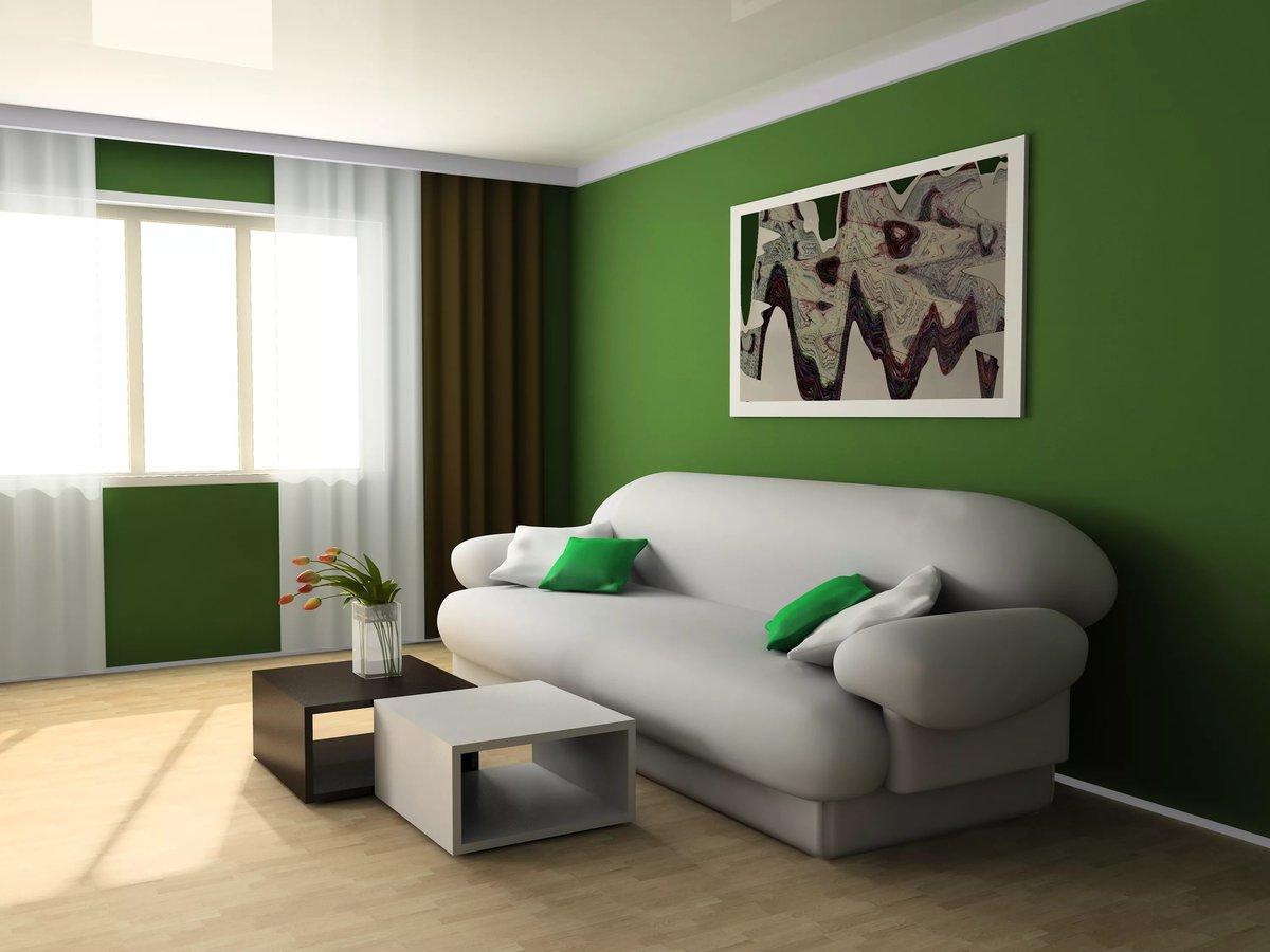 Бело зеленая гостиная фото