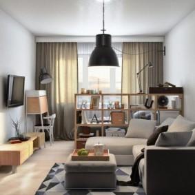 Зонирование гостиной невысоким стеллажом