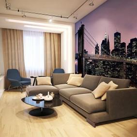 Фотообои в интерьере гостиной комнаты