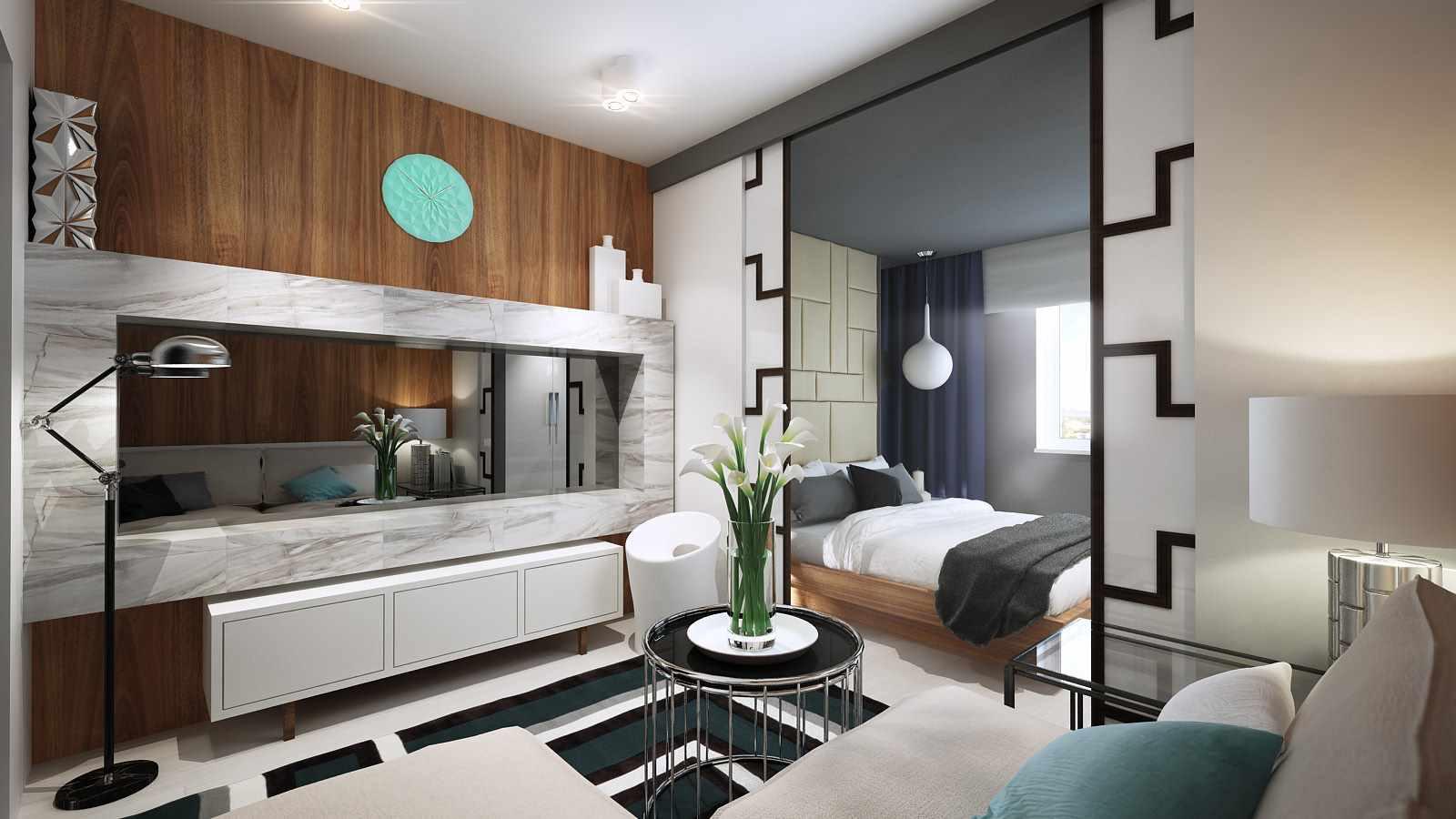 гостиная спальня с перегородками