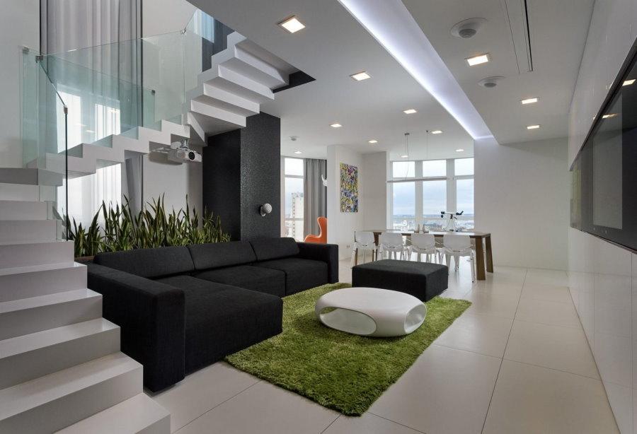 Дизайн двухуровневой квартиры в стиле хай тек
