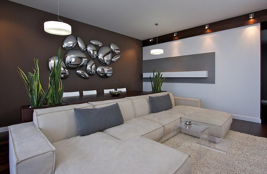 Декор гостиной хрущевки в стиле хай-тек
