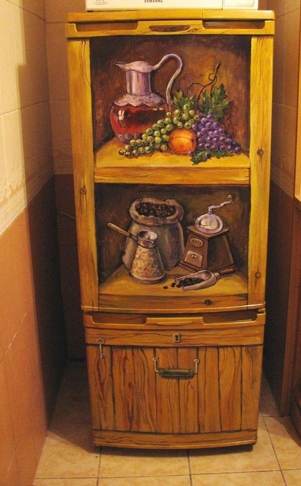 Пример декора холодильника в стиле кантри