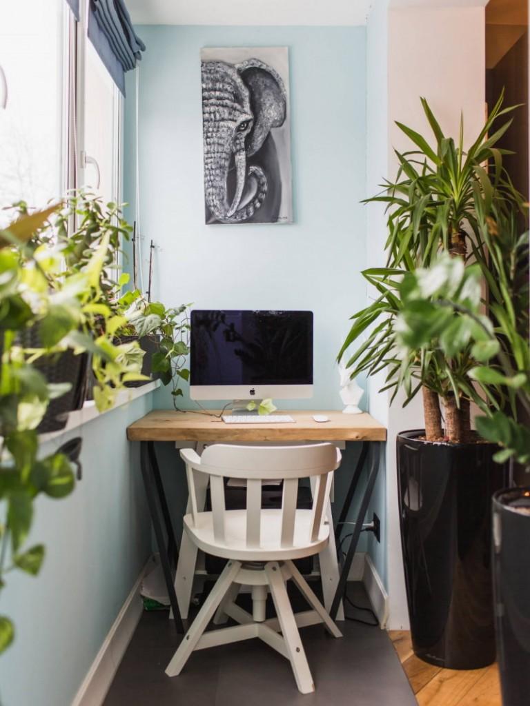 Мини-кабинет на маленьком балконе