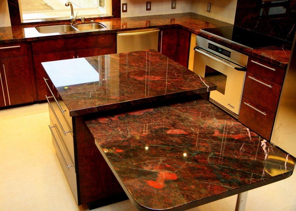 Гранитные столешницы в интерьере кухни