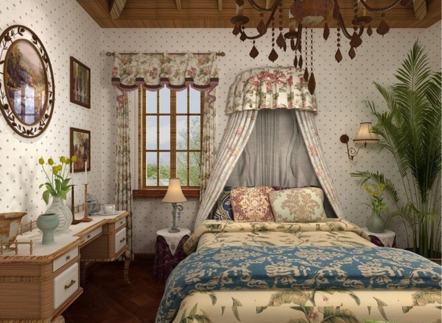 Спальня в стиле кантри с балдахином над кроватью