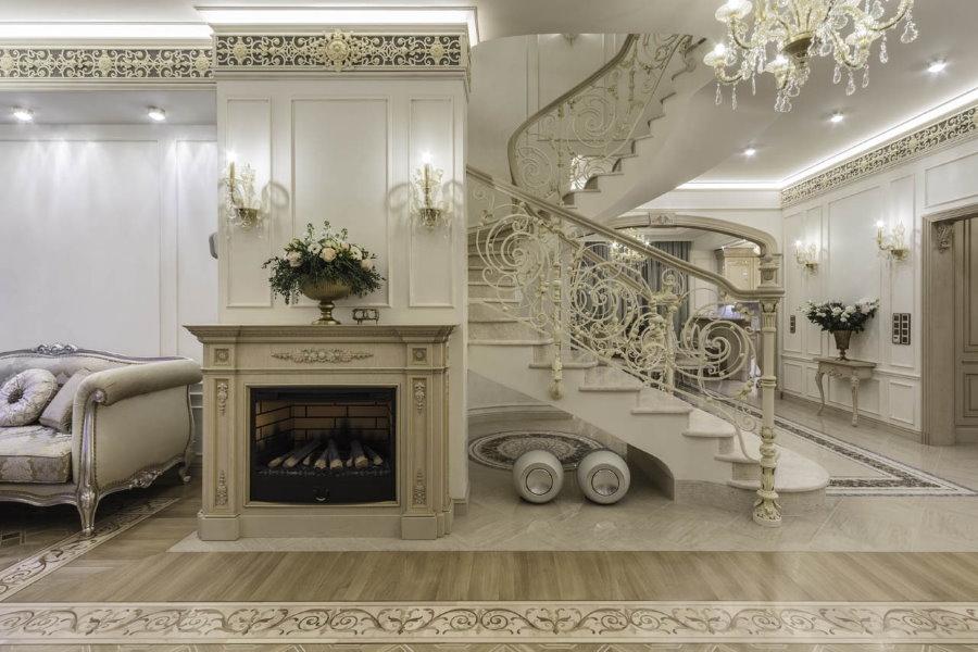 Дизайн квартиры с двумя уровнями в стиле классики