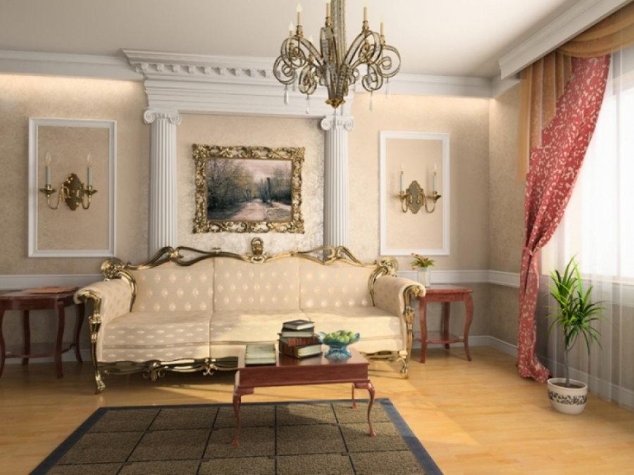 Полуколонны на стене гостиной в классическом стиле