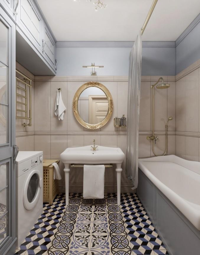 Овальное зеркало над умывальником в ванной
