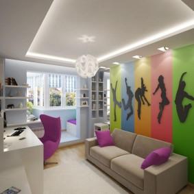 комната 16 кв м в однокомнатной квартире интерьер фото