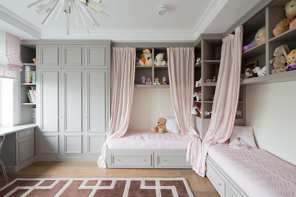 Оформление интерьера спальни для двух девочек
