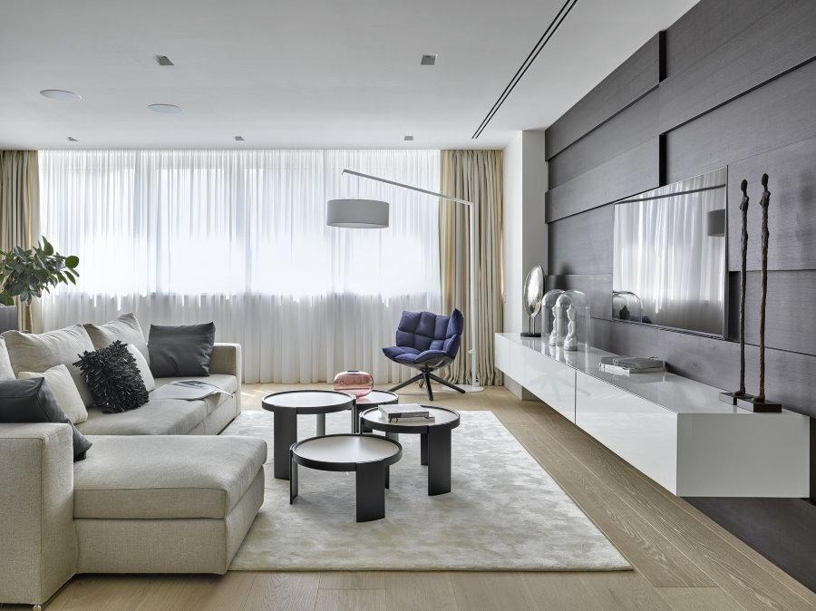 Подвесная мебель в гостиной современного стиля
